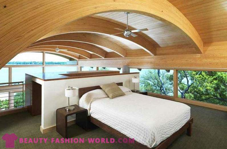 Interior of modern bedroom in ecological style