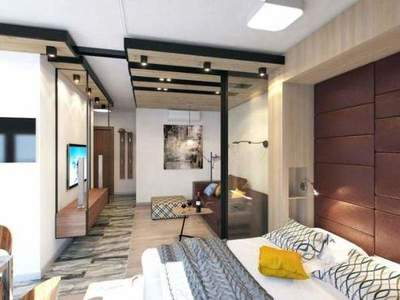 Interior of modern one-room apartment of 39 sq.m.