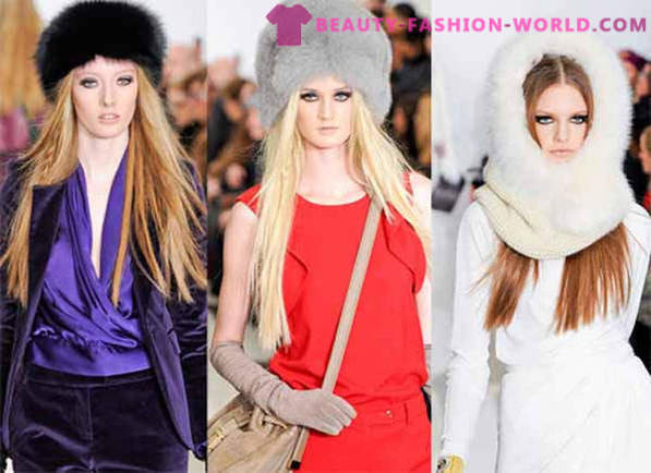 Fashionable women's fur cap for the winter 2014